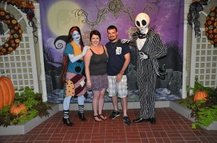 Me and my husband with Sally and Jack Skellington at MNSSHP.